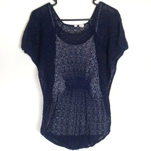 Anthropologie Moth Navy Lace Batwing Knit Top XS